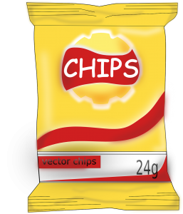 yellow bag with the words chips on it