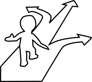 illustration of a person walking with 3 arrows in front of him