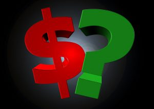 red money sign next to a green question mark