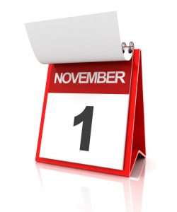 calendar with the date on november 1