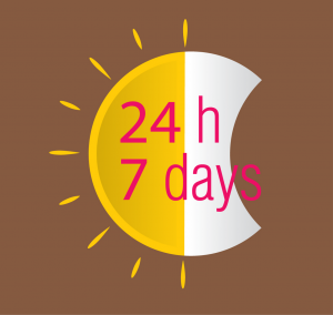 half sun and half moon with the words 24 h and 7 days in the middle