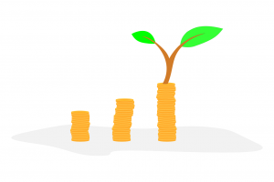 coins in a row growing, with the last one with a branch on top of the stack