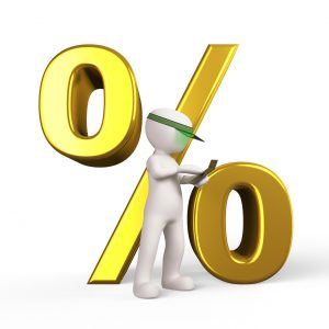 discount symbol in gold with a character in front of it with a calculator