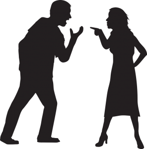 silhouette of a man and a woman arguing